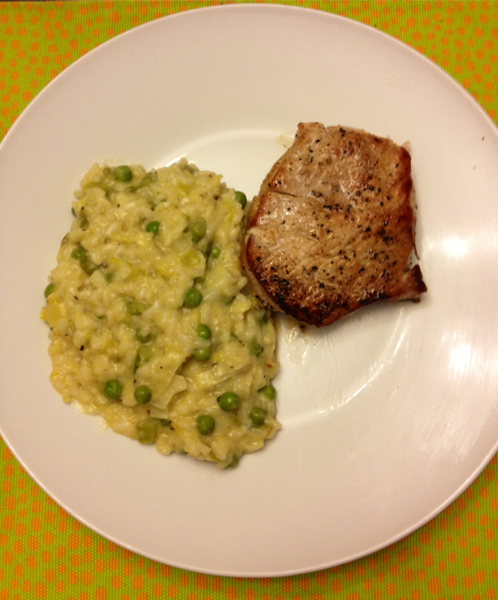 Lovely Dinner Spring Green Risotto Pork Chops A